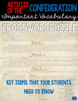 Articles of the Confederation Crossword