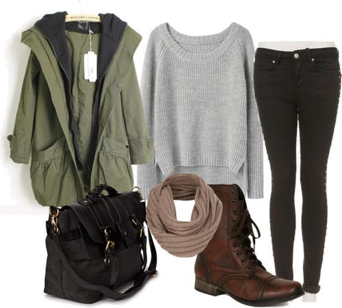 I WOULD WEAR THIS EVERYDAY!! rag & bone knit shirt / Green coat / Topshop denim skinny jeans / Steve Madden leather lace up combat boots / Friis & Company genuine leather handbag, $64 / French Connection