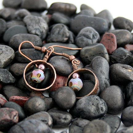 Hammered Copper Pipe Earrings Accented with Translucent Multi-colored | Pretty Patina