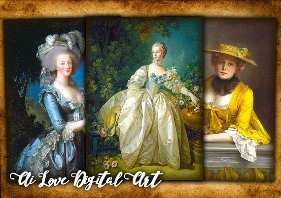 Digital collage sheet Vintage Ladies 18th Century instant