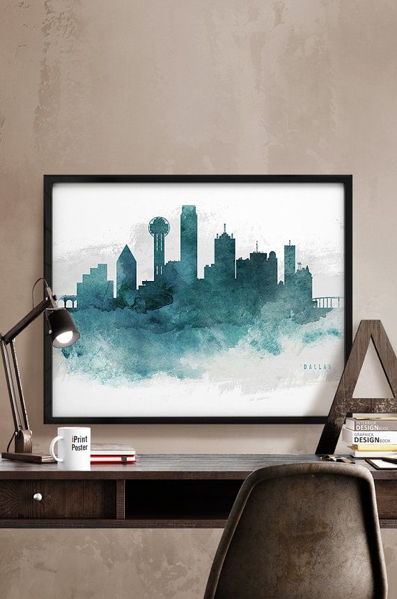 Dallas watercolor poster Dallas skyline print by iPrintPoster