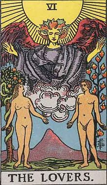 Your Tarot card is The Lovers.  This card has dual meanings, perfect for you: Love, an important relationship, union, passion, sexuality, pleasure, humanism, desire, personal beliefs, individual values, physical attraction, connection, affinity, bonding, romance, heart, a choice between two pleasures, doubt, dilemma, or temptation.
