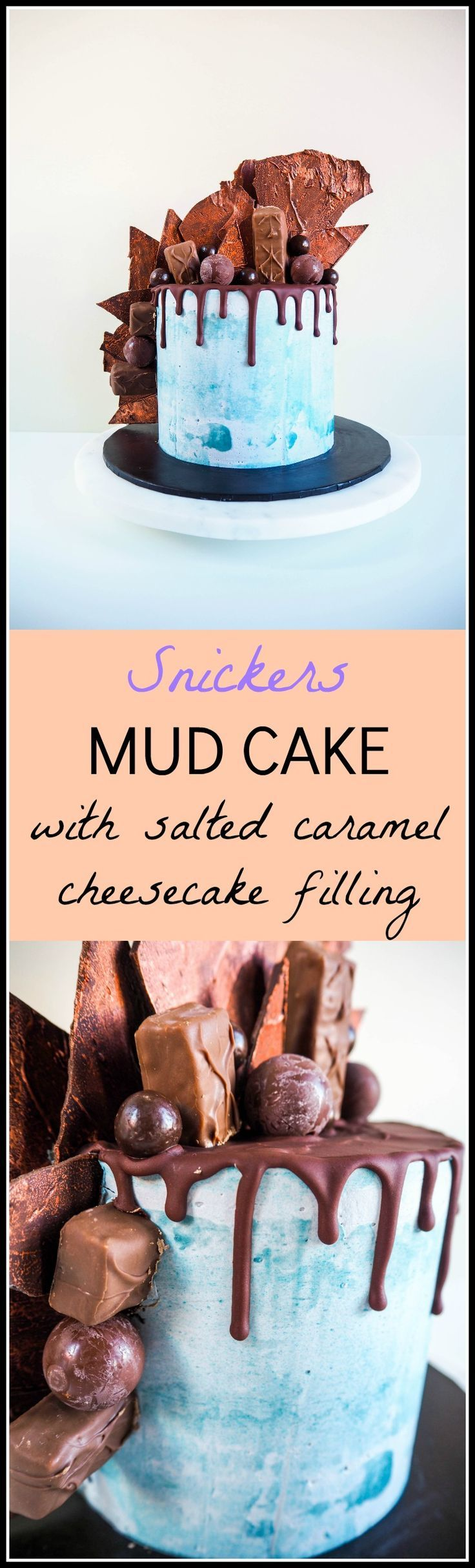 Snickers Mud Cake with Salted Caramel Cheesecake Filling
