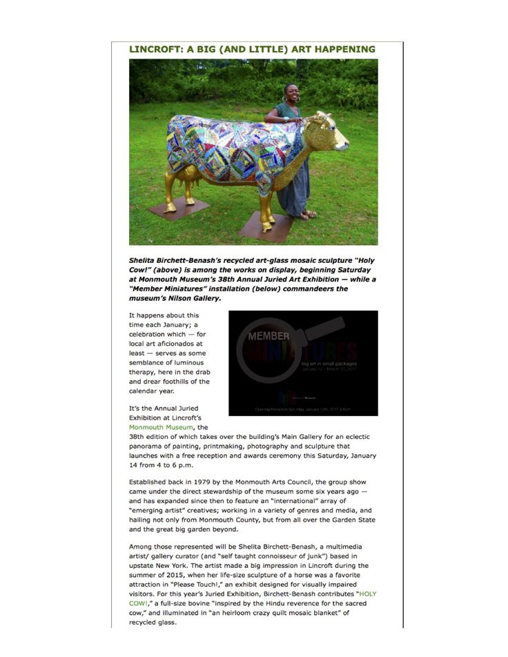 SHELITA BIRCHETT BENASH_HOLY COW_RECYCLED ART GLASS MOSAIC SCULPTURE_MONMOUTH MUSEUM