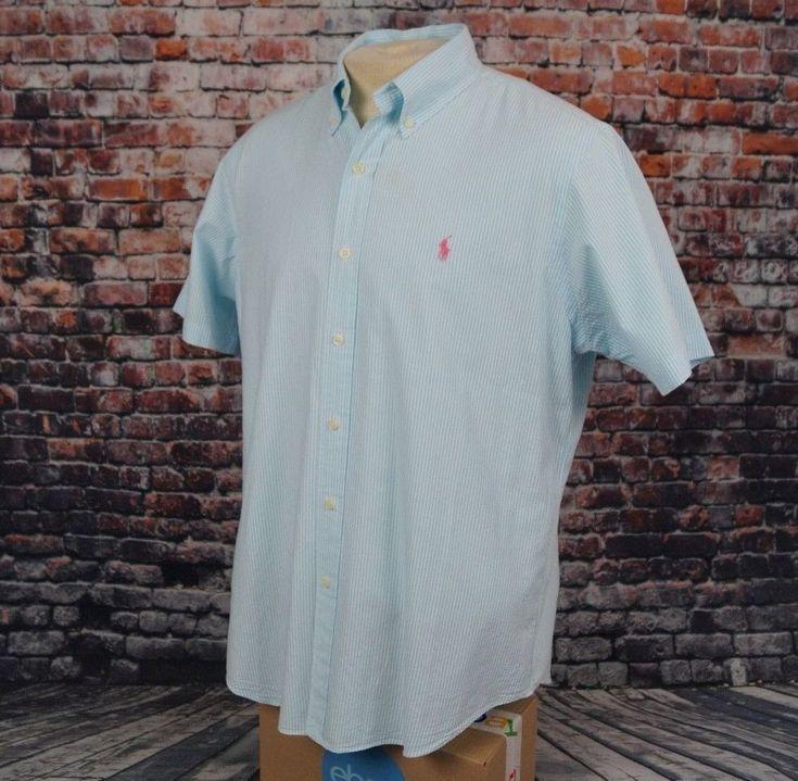 Polo Ralph Lauren Seersucker Shirt Blue White Ribbon Striped Mens L Large #PoloRalphLauren #ButtonFront
