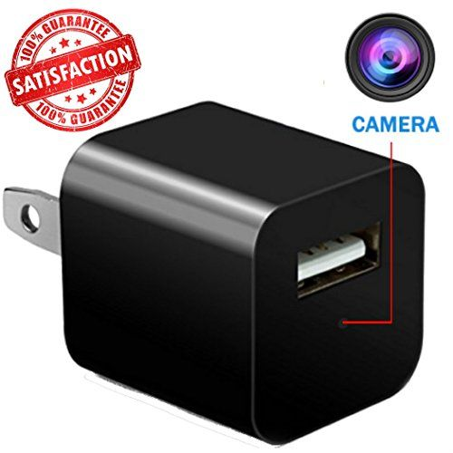 [2018 Edition] Hidden Camera USB Phone Charger – 1080P HD Video Recording With 32GB Memory & Motion Detection – Nanny Spy Cam for Professional Surveillance  HIDDEN IN PLAIN SIGHT - No one will ever know this phone charger is actually a hidden camera! Unlike other models, our camera has no indicator light so it never draws suspicion. Safely monitor your home, office, hotel, or nursing home with comfort.1080P HD VIDEO & MOTION DETECTION - Records in clear 1080P HD quality video. With ..