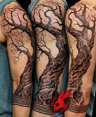 Realistic olive Tree Sleeve Greek Border Patern Key Tattoo by Jackie Rabbit