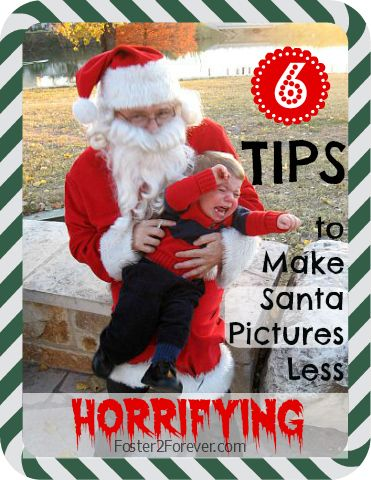 Tips to make pictures with Santa easier for kids. #Christmas #photos- we usually have an ok time, the kids know it's mamaw and jojoe!
