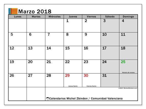 Calendario para imprimir gratis marzo 2018, con los días festivos de la Comunidad Valenciana. Calendario mensual
