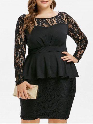 7ed5ee598 Comprar Negro 1x Vestido de Peplum con panel de encaje y más en línea a  26.50 y descubrir la moda en RoseGal.com
