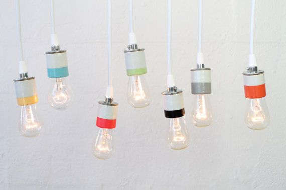 Hand-painted Porcelain Light Pendant(s) with Edison bulb