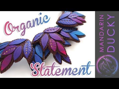 ▶ LAYERED LEAF NECKLACE - Organic leaf necklace polymer clay tutorial ポリマークレイ ; 폴리머 클레이 - YouTube