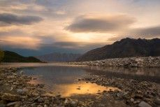 Sunset across Lake Wakatipu from 12 Mile Delta near Queenstown, New Zealand.