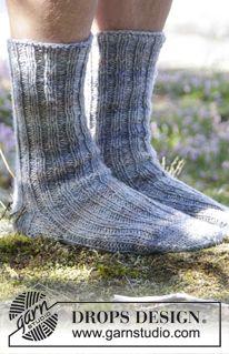 """Stickade DROPS sockor till herr i 2 trådar """"Fabel"""" med resår. Stl 38 - 46 ~ DROPS Design"""