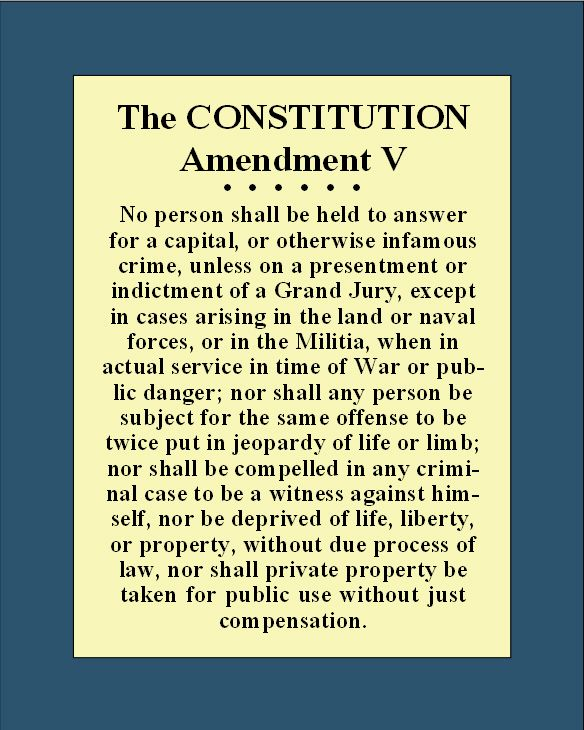 the 5th amendment Rights of persons fifth amendment no person shall be held to answer for a capital, or other-wise infamous crime, unless on a presentment or indictment of.