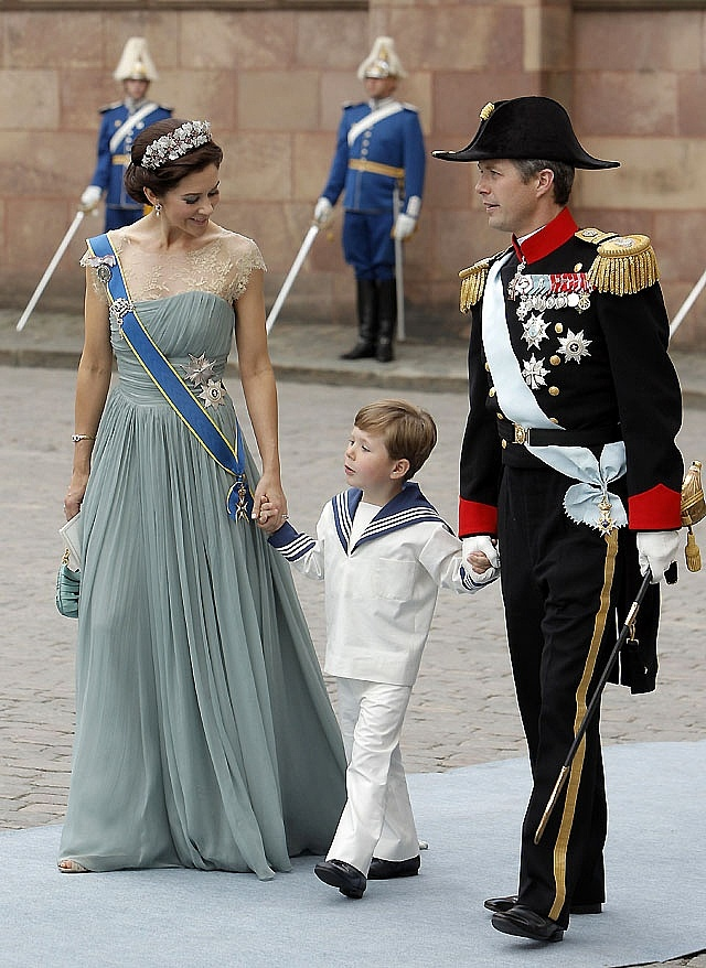 Princess Mary of Denmark. Love her dress! And little Prince Christian of Denmark