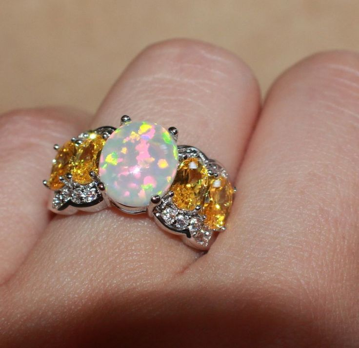 fire opal topaz Cz ring gems silver jewelry Sz 6 cocktail engagement wedding W2