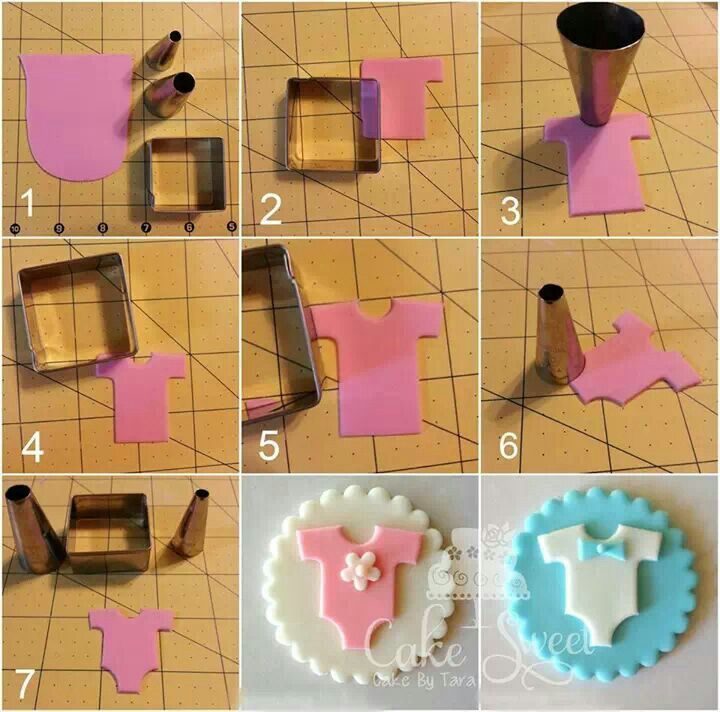 Fondant baby onesie (square cookie cutter and 2 different size round decorating tips)