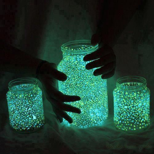 Empty the liquid  inside a glow stick into a jar with some water and glitter, and make a glow-in-the-dark nightlight. If you're using a bigger jar like the one in the middle, use two glow sticks.