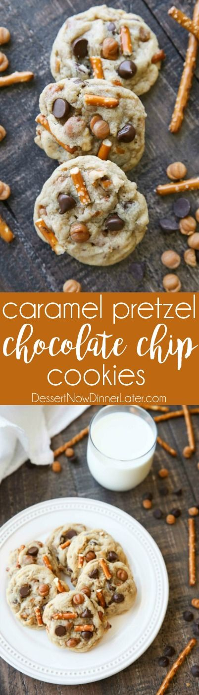 aramel Pretzel Chocolate Chip Cookies are loaded with pretzels, caramel bits, and chocolate chips, for a salty-sweet cookie treat.