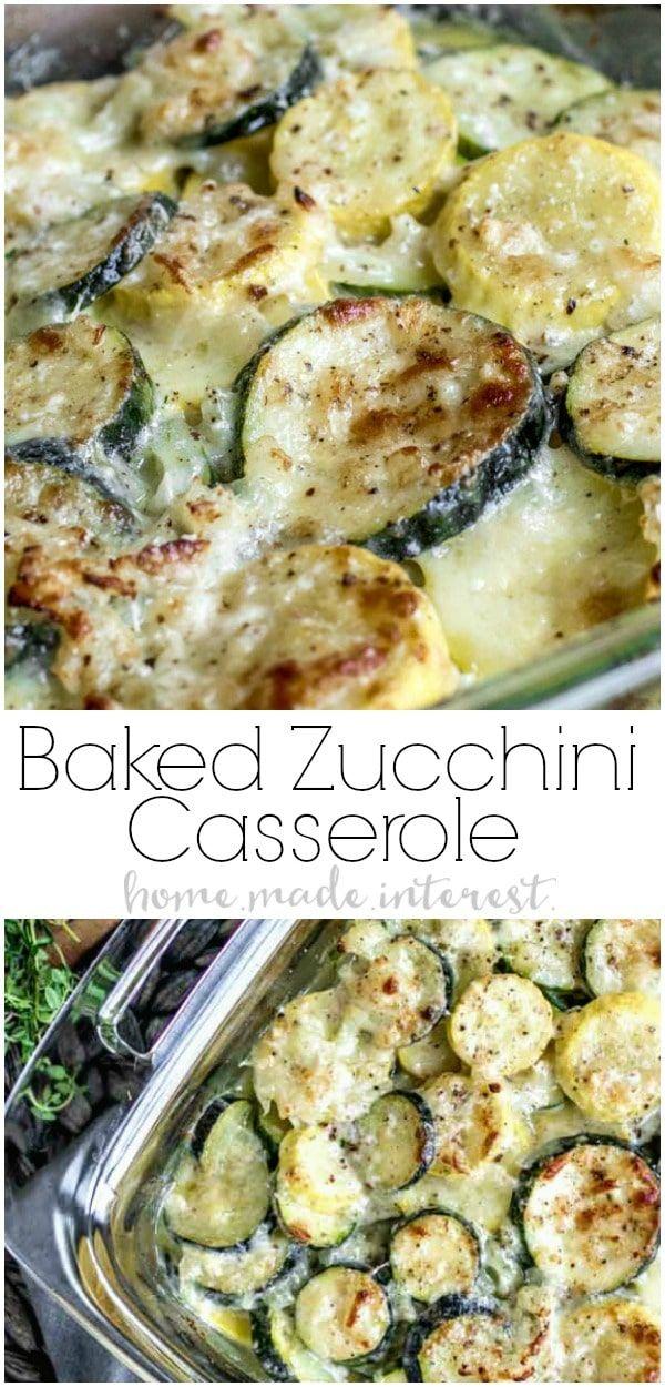 Dieser cremige, käsige gebackene Zucchini-Auflauf wird mit frischer Zucchini …