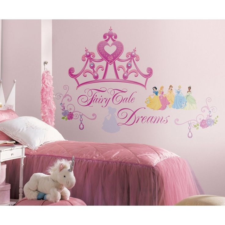 New DISNEY PRINCESS CROWN WALL DECALS Girls Stickers Pink Bedroom Decor #Roommates