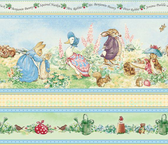 Beatrix potter garden tales border fabric by - Peter rabbit nursery border ...