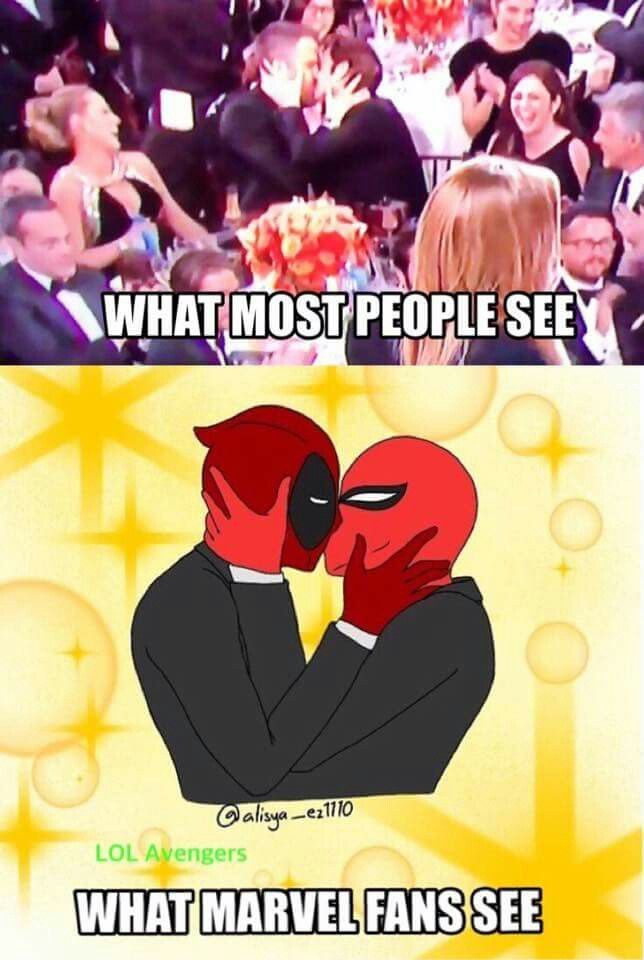 Totally thought this. I love the Spideypool bromance. Do I ship it? Just a little. :D