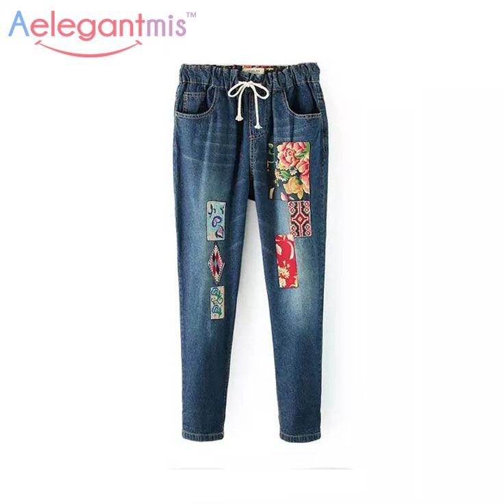 Cheap jean anyon, Buy Quality jeans pants for boys directly from China jeans discount Suppliers: Aelegantmis Flower Embroidery Jeans Women Casual Patchwork Denim Pants Female 2017 Spring Pockets Straight Jeans Plus Size 3XL