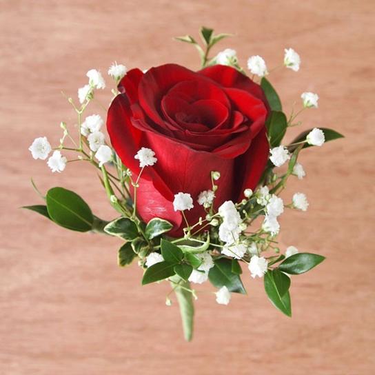 Flourish Wedding Buttonhole -Rose & Gypsophila Price £5.00