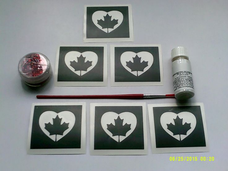 Canadian Maple Leaf heart glitter tattoo set including 30 stencils + red glitter…