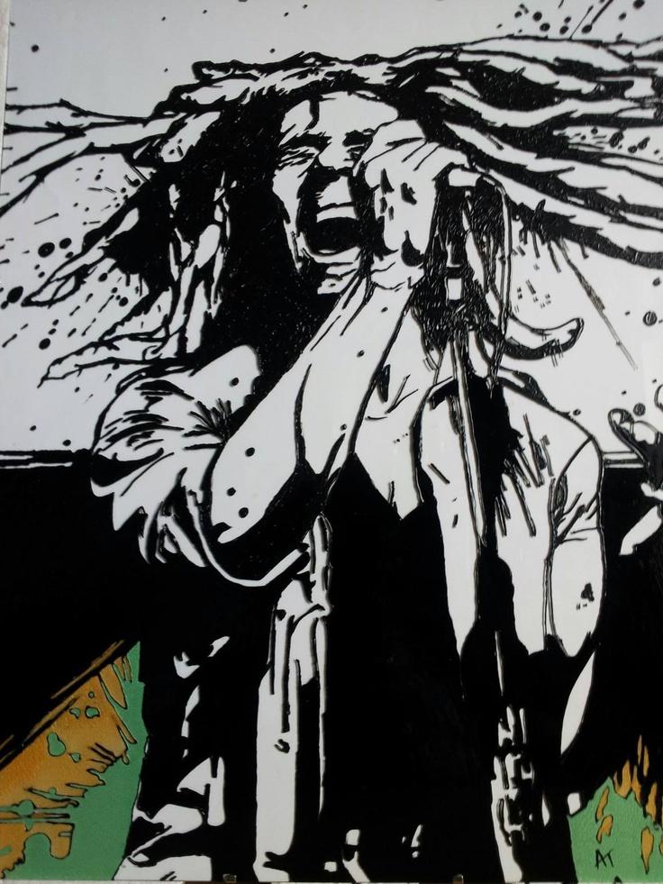 Glass Painted Bob Marley https://www.facebook.com/AngiesGlassworks?fref=ts