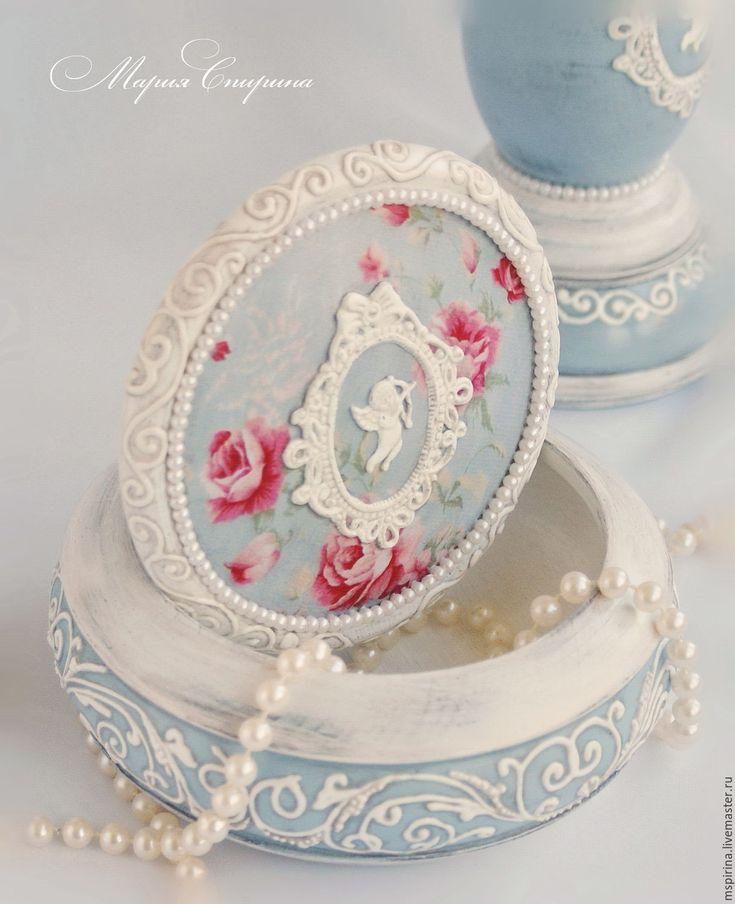 """Купить Шкатулка в стиле шебби-шик """"Amour"""" - голубой, для туалетного столика…"""