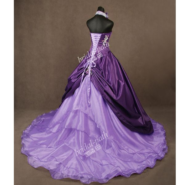 Stunning Unique Purple Wedding Dress Gown Bridal Ball B1575