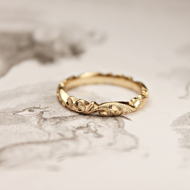 rustwedding — 18ct gold 3mm floral carved