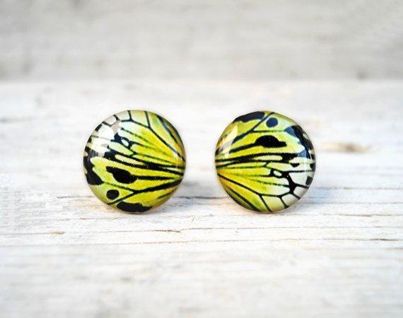 Butterfly wing earrings, Mustard Yellow earring studs