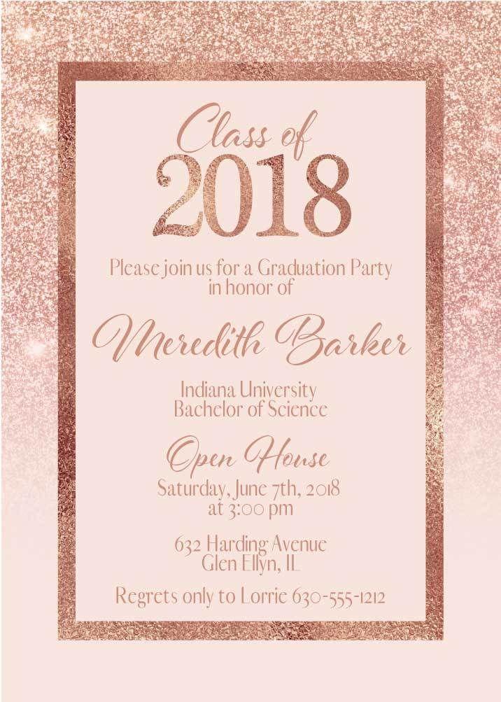 Rose Gold Graduation Invitations