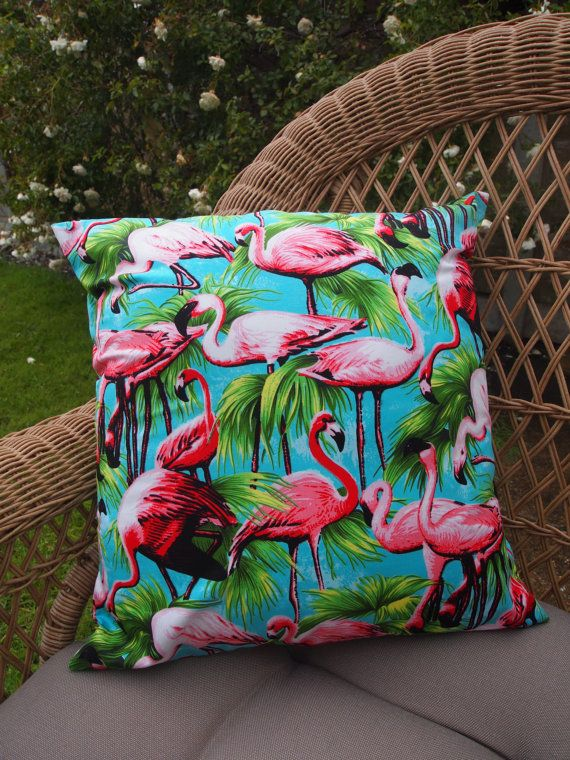 "Handmade Flamingo Cushion Cover - Vintage Bird Blue Pink Lampshade Vintage 16"" on Etsy, $12.61"