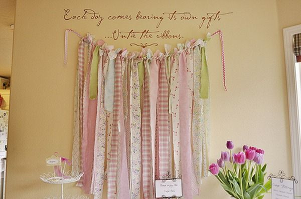 ribbon wall decorationRibbons Wall, Shower Ideas, Little Girls, Cute Ideas, Girls Room, Fabrics Strips, Scrap Fabric, Bridal Shower, Backdrops Ideas