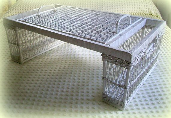 Vintage Wicker Rattan Bed Tray or Lap Tray by merrilyverilyvintage