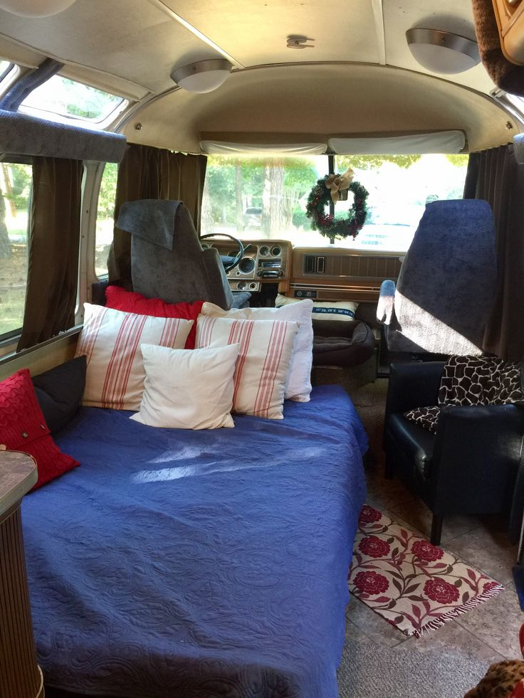 1977 Argosy Motorhome by Airstream renovation. IKEA Futon for a couch and bed.