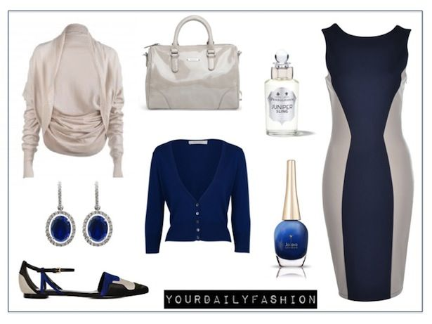 Blue & Cream elegance is yourdailyfashion's classy look of the day.