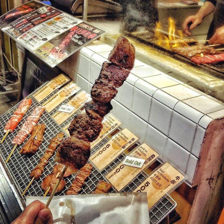 Because sometimes you deserve a Grilled Kobe #Beef Skewer after all that shopping! -- #MeatyGoodness #KobeBeef #StreetFood #Japanese #Food #Foodie #Instafood #FoodPorn #Foodstagram #Shibuya #Tokyo #Japan #Asia #Travel #FoodBlog #FoodPics #TokyoEats #DesiredJapan #DesiredTastes