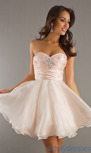 Short Strapless Party Dress at SimplyDresses.com