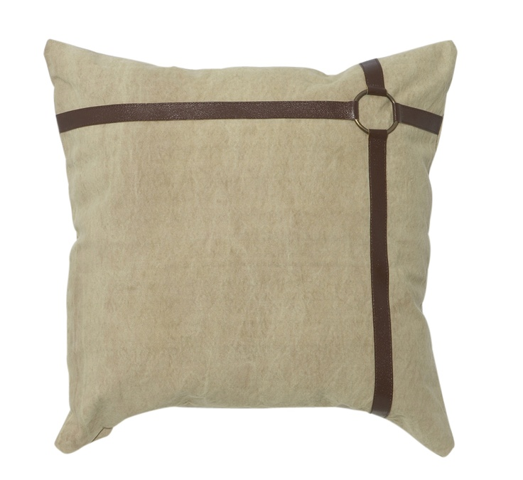 Leather Strap Tan Cushion Square from Domayne