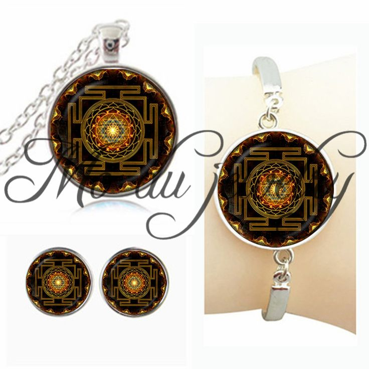 Moda Buddista Sri Yantra Jewlery Set Geometria Sacra Sri Yantra Gioielli, commercio all'ingrosso dei monili