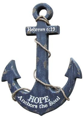 "Our Nautical Anchor Wall Art Navy is a rustic anchor wall decor that adds an instant nautical mood to your home or cottage. Distressed finish in worn navy with aged look. 12. 5"" wide x 19"" tall, wood anchor is trimmed with rope. Message: Hebrews 8:19 Hope Anchors the Soul Dimension: 12. 5""W x 19""H"