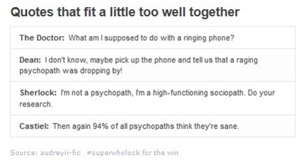 except Sherlock doesn't think he's sane. he's just clarifying what type of crazy he is.