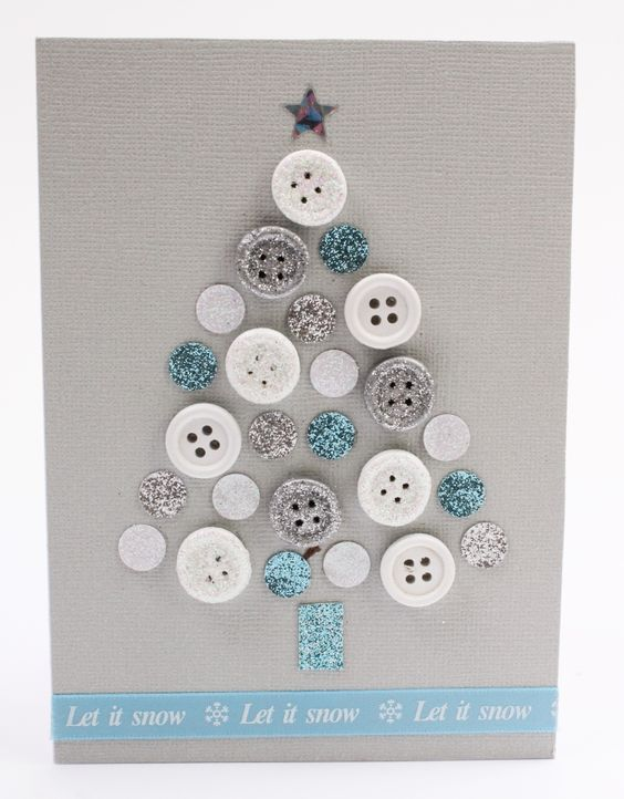 Super cute DIY Christmas card using glittery buttons and paper circles - with a Christmas message at the bottom