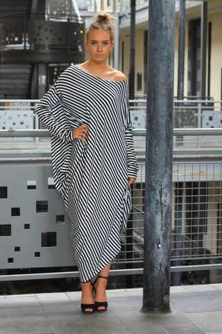 Gaya Stripe Asymmetric Dress – Lagenlook Luxe Clothing